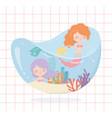 mermaids reef coral cartoon under sea vector image vector image