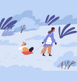 mother pulling sled with her child in winter park vector image vector image