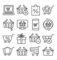 online shopping line icons on white background vector image
