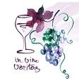 painted watercolor card with grape leaves vector image