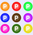 parking icon sign A set of nine different colored vector image