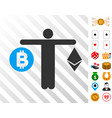 person compare cryptocurrency icon with bonus vector image vector image
