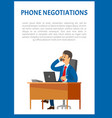 phone negotiations poster boss leader vector image