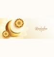 realistic golden ramadan kareem banner with moon vector image vector image
