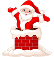 Santa Claus jumping from chimney vector image vector image