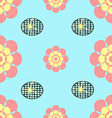 Seamless flower blue and black grid background vector image vector image