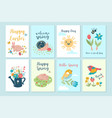 set cute spring cards graphics vector image
