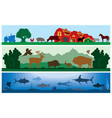 set of black and white landscapes wildlife vector image