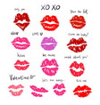 set of lip prints of a different form and color vector image