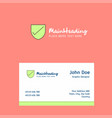 sheild logo design with business card template vector image
