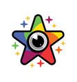 star camera shutter lens colorful logo icon vector image vector image