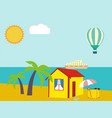 Summer vacation - sea palm tree sun and beach vector image