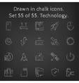 Technology icon set drawn in chalk vector image vector image