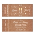 Ticket for Wedding Invitation with wine glass vector image