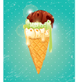 Vanilla Ice cream cone with Chocolate glaze vector image vector image