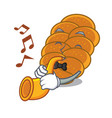 with trumpet challah mascot cartoon style vector image vector image
