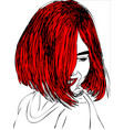 young woman with red hair one line design vector image vector image
