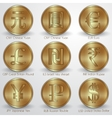 set of gold coins with different currency signs vector image