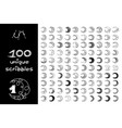 black 100 scribbles objects set vector image