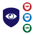 blue shield and eye icon isolated on white vector image vector image