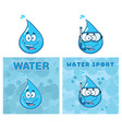 blue water drop cartoon characters collection vector image
