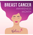 breast cancer awareness month design with young vector image