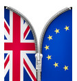 brexit concept zipper dividing uk and eu vector image