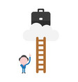 businessman character ladder pointing up to climb vector image vector image