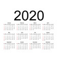 calendar 2020 year simple style vector image