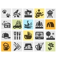 camping set black icons signs and symbols vector image vector image