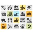 camping set black icons signs and symbols