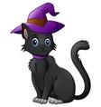cartoon black cat in a halloween hat vector image vector image