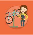 caucasian bicycle mechanic working in repair shop vector image vector image