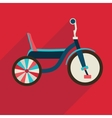 Children bicycle flat icon with long shadow vector image