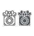christmas box line and glyph icon present and new vector image vector image