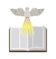 colorful silhouette with holy bible open and dove vector image vector image