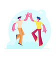 couple male friends characters take high five vector image