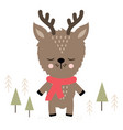 cute holiday reindeer vector image vector image