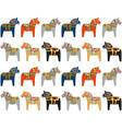 dala horse swedish folk art pattern background vector image
