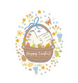 easter greeting card or banner with chicken vector image