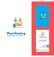 emoji in hands creative logo and business card vector image