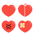 Flat design cartoon red heart icons set vector image vector image