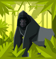flat geometric jungle background with gorilla vector image vector image