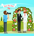 flat wedding people orthogonal composition vector image vector image