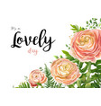 floral watercolor card design with pink peach rose vector image vector image