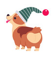 funny dog in christmas hat symbol xmas and new vector image vector image