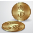 gold coins with dollar currency sign vector image vector image