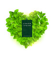 green heart made with leaves vector image