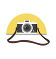hanging vintage camera with strap in a flat style vector image vector image