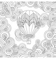 hot air balloon in entangle inspired doodle style vector image vector image